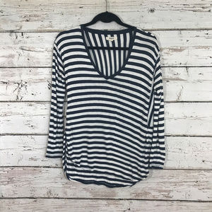 Madewell Blue and White Long Sleeve Top